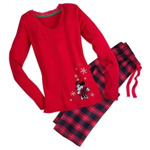 DISNEY | Red Plaid Minnie Mouse 2 Piece Pajama Set